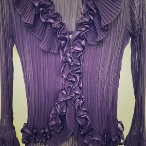 Royal/eggplant purple Ruffled Vtg blouse SM/MED